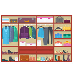 wardrobe room full of clothesflat vector image