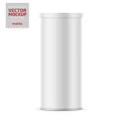 white matte paper tube with plastic lid vector image