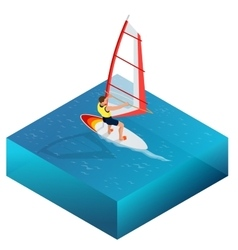 Windsurfing Fun in the ocean Extreme Sport vector
