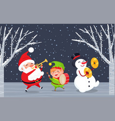 Winter characters santa elf and snowman in wood vector