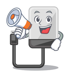 With megaphone hard drive in shape of mascot vector