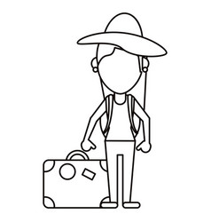 Woman traveling hat and suitcase thin line vector