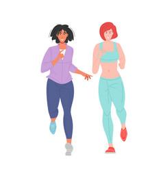 Women in sportswear running vector