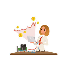 Young businesswoman with laptop in hands mining vector