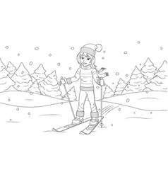 young girl skiing vector image