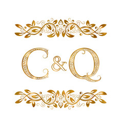 C and q vintage initials logo symbol the letters vector
