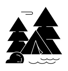 camping tent forest icon vector image