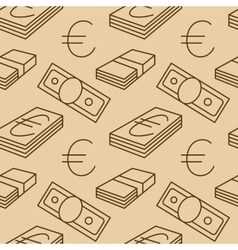 Currency seamless pattern Euro signs texture with vector image