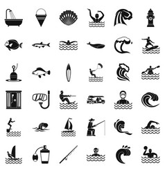 Ocean water icons set simple style vector