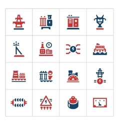 Set color icons of power industry vector image