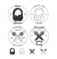 Set of music and karaoke logos labels badges vector image vector image