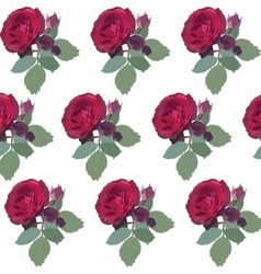 Watercolor Red Rose pattern vector image vector image