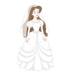 Beautiful brunette bride gentle princess in white vector image