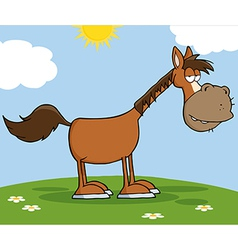 Horse Character On A Meadow vector image vector image