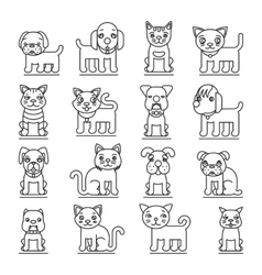 Pets line icons Dogs and cats outline signs vector image vector image