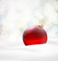 red ball lying in the snow vector image