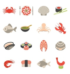 Seafood icons set flat vector image vector image