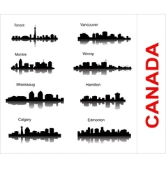 Set City silhouette in Canada vector image