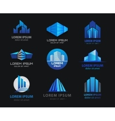 set of 3d blue office buildings houses vector image