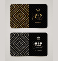 vip golden and platinum card template vector image vector image
