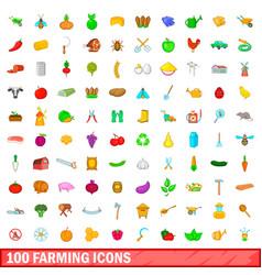100 farming icons set cartoon style vector image