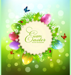 background for easter with a round card for text vector image vector image