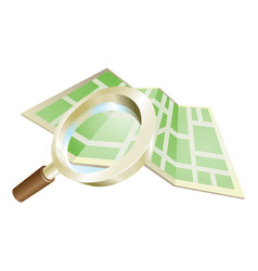 magnifying glass map concept vector image vector image
