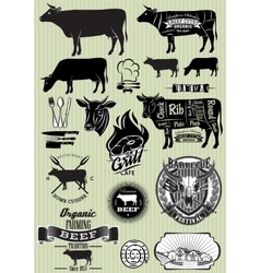set of templates on the theme of cow beef for vector image