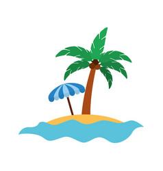 tree palm with umbrella summer icon vector image