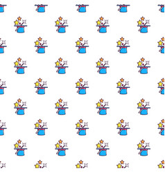 colorful magic hat and wand pattern vector image