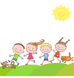 Happy boys and girls cat dog running on a road vector