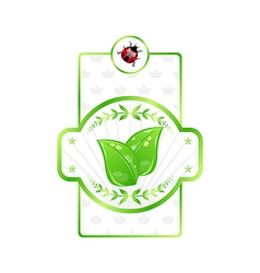 Natural eco label green leaves for packed product vector image vector image