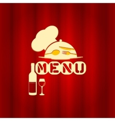restaurant menu with a red cap and a plate vector image