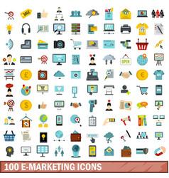 100 e-marketing icons set flat style vector image