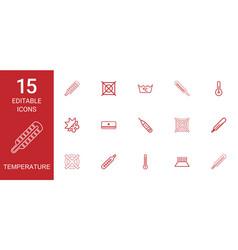 15 temperature icons vector image