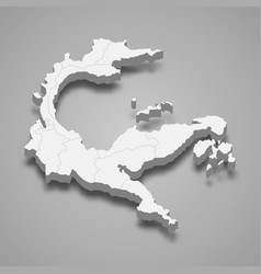 3d isometric map central sulawesi vector