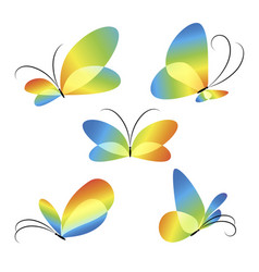 abstract colorful different butterflies set vector image