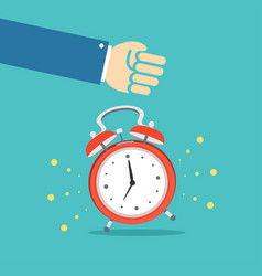 alarm clock and hand concept banner flat design vector image