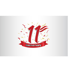 Anniversary celebration background with 11th vector