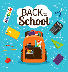 Back to school poster with backpack vector