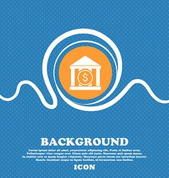 Bank icon sign Blue and white abstract background vector