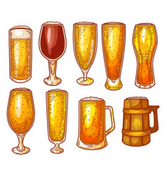 beer glasses pint mug craft beer brewery sketch vector image