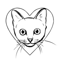 Black cartoon cat biting a huge heart vector