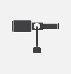 Black icon on white background spyglass on a stand vector