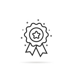 Black thin line rosette icon with star vector