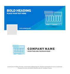Blue business logo template for synth keyboard vector
