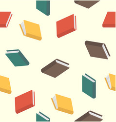 books pattern seamless colored in flat style vector image