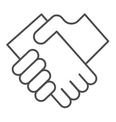 business handshake thin line icon hands shaking vector image
