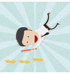 Businessman find money footprint vector image