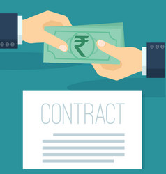 businessman pays indian rupees vector image
